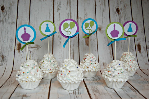 Bright Birthday Themed Birthday Party Cupcake Toppers (set of 12), Classic B-day Balloon