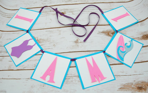 Surfing Mini Highchair Banner, Surfs Up Birthday, Luau First Birthday Party
