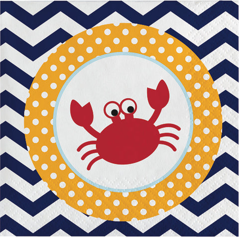 Ahoy Matey Beverage Napkins, Nautical Dessert Napkins, Crab Napkin, Sailing Party, Nautical Party (set of 16)