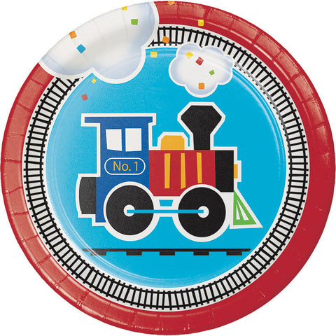 All Aboard Luncheon Plates, Train Dessert Plates, Choo-Choo Paper Plate, Railroad Party Tableware, Train Party (set of 8)