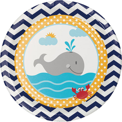 Ahoy Matey Luncheon Plates, Nautical Dessert Plates, Whale Paper Plate, Baby Shower Tableware, Sailing Party (set of 8)