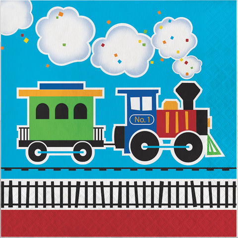 All Aboard Beverage Napkins, Train Dessert Napkins, Choo-Choo Paper Napkin, Railroad Party Tableware, Train Party (set of 16)