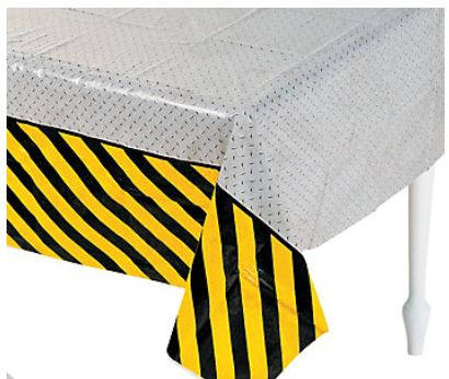 Plastic Construction Zone Tablecloth, Party Table Cover, Table cloth