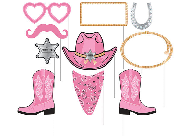 Cowgirl Party Photo Booth Props, Western Birthday Picture Sticks