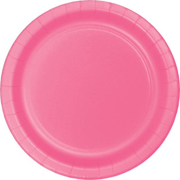 "Candy Pink Paper Dinner Plates, Classic 8.75"" Round Paper Plates (set of 8)"