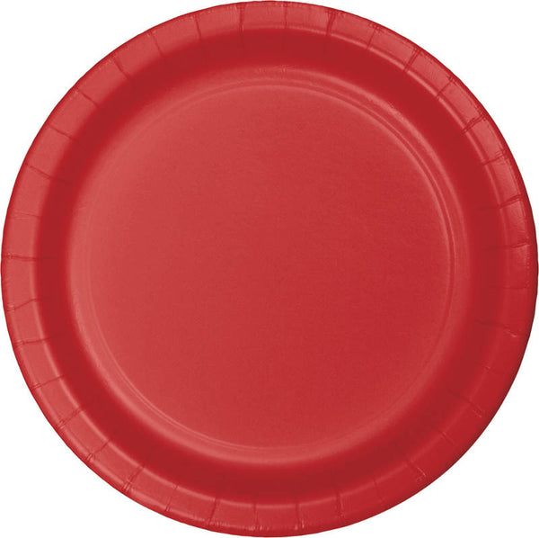 "Classic Red Paper Dinner Plates, Classic 8.75"" Round Paper Plates (set of 8)"