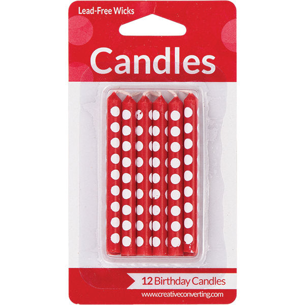 Classic Red Dot Birthday Candles, Birthday Cake Candles (set of 12)