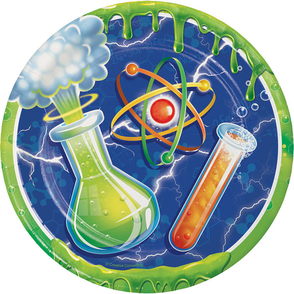 Mad Scientist Dessert Plates, Science Party Paper Plates, Chemistry Dinnerware, Luncheon Plates