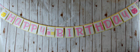 Pink Lemonade Birthday Banner, Lemonade Stand Happy Birthday Banner