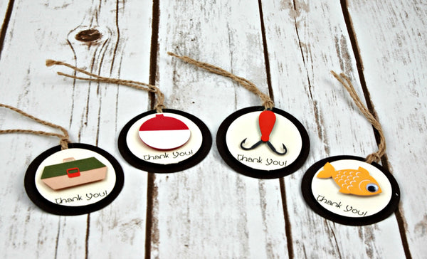 Fishing Party Favor Tags, Camping Party Thank You Tags (set of 12)