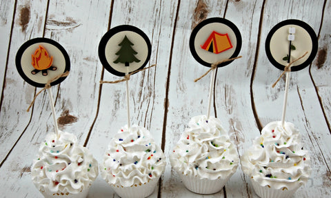 Camping Party Cupcake Toppers, Fishing Party Toppers (set of 12)