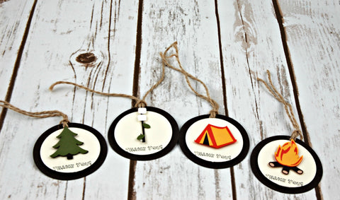 Camping Party Favor Tags, Fishing Thank You Tags (set of 12)