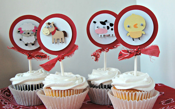 Farm Themed Birthday Party Cupcake Toppers (set of 12) - We Bring the Party