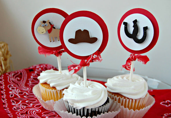 Cowboy Themed Birthday Party Cupcake Toppers - Western Party Decorations (set of 12) - We Bring the Party - 1