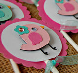 Baby Bird Birthday Party Cupcake Toppers (set of 12) - We Bring the Party - 4