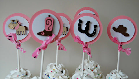 Cowgirl Themed Birthday Party Cupcake Toppers (set of 12) - We Bring the Party - 1
