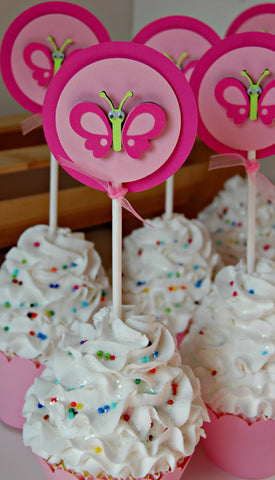 Butterfly Birthday Party Cupcake Toppers (set of 12) - We Bring the Party - 1