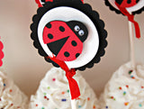 Ladybug Birthday Party Cupcake Toppers (set of 12) - We Bring the Party - 1