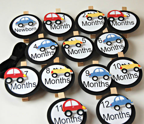 Cars Birthday Photo Banner Clips with Ribbon - We Bring the Party - 1