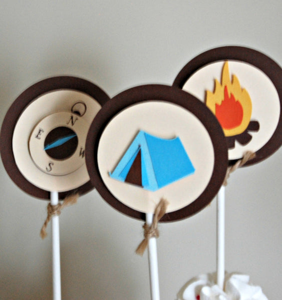 Camping Theme Birthday Party Cupcake Toppers (set of 12) - We Bring the Party - 1