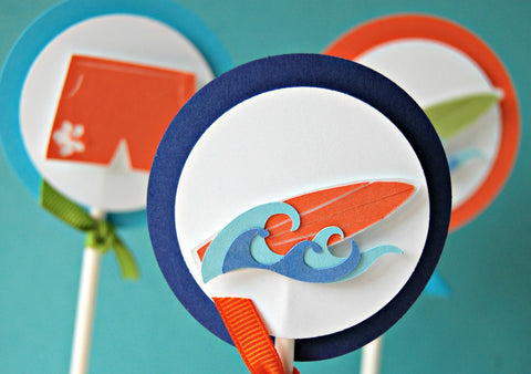 Surfing Birthday Party Cupcake Toppers - Surf's Up Party (set of 12) - We Bring the Party - 1