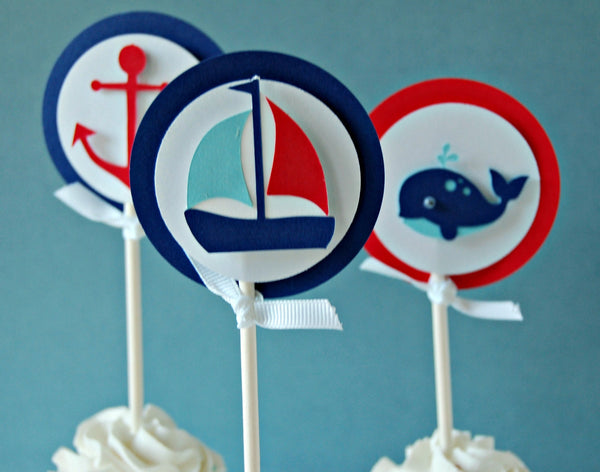 Sailing Birthday Party Cupcake Toppers, Nautical Party (set of 12) - We Bring the Party - 1