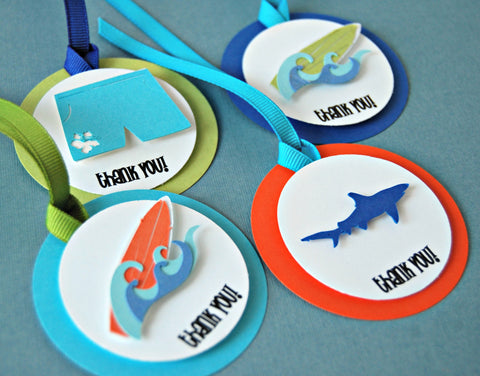 Surfing Themed Party Favor Tags (12) - We Bring the Party - 1