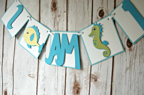 Under the Sea High Chair Mini Banner, Ocean Birthday, Sealife Party Decoration, Fish Theme First Birthday Party Decor