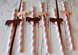 Cowgirl Themed Party Decorations, Western Style Paper Straws, Decorated Paper Straws, Set of 12 - We Bring the Party - 2