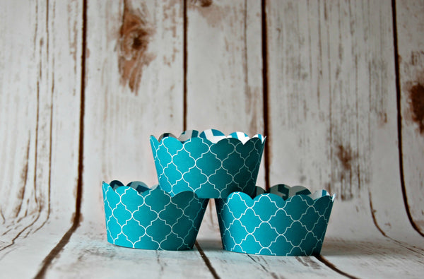 Spanish Tile Cupcake Decorations, Reversible Cake Wraps, Aqua Cupcake Wrappers (set of 6) - We Bring the Party - 1