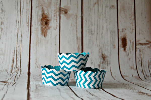 Aqua Cupcake Wrappers, Chevron Cupcake Decorations, Reversible Cake Wraps (set of 6) - We Bring the Party - 1