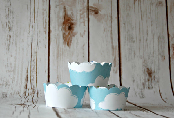 Cloud Cupcake Decorations, Reversible Cake Wraps, Blue Polka Dot Cupcake Wrappers (set of 6) - We Bring the Party - 1