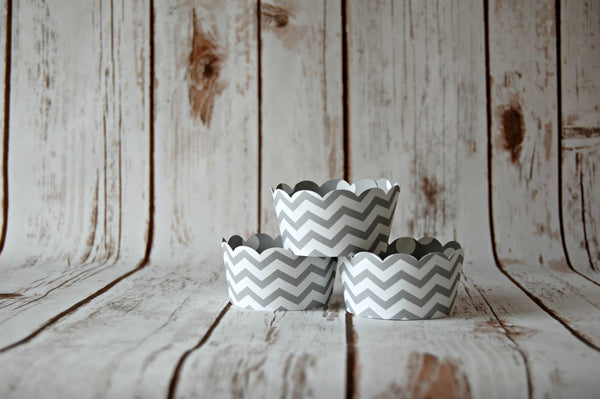 Grey Chevron Cupcake Wrappers, Reversible Wraps,  Gray Polka Dot Cupcake Decoration (set of 6) - We Bring the Party - 1