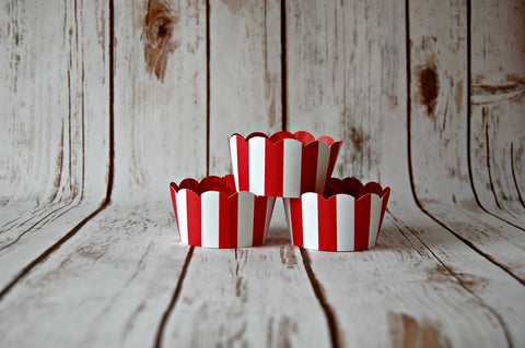 Red and White Striped Cupcake Wrappers, Reversible Cake Wraps,  Circus Cupcake Decoration (set of 6) - We Bring the Party - 1