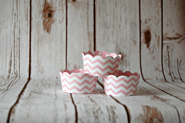 Pink Chevron Cupcake Wrappers, Reversible Cake Wraps,  Pink Damask Cupcake Decoration - We Bring the Party - 1