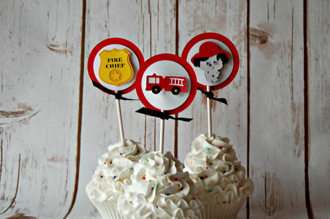 Firetruck Cupcake Toppers (set of 12) - We Bring the Party - 1