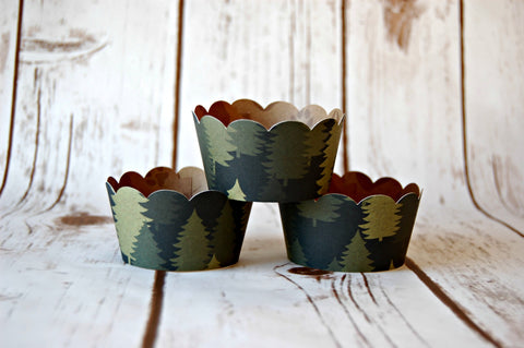 Forest Cupcake Wrappers, Reversible Wraps,  Pine Trees Cupcake Decoration (set of 6) - We Bring the Party - 1