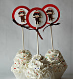 Sock Monkey Party Cupcake Toppers (set of 12) - We Bring the Party - 1