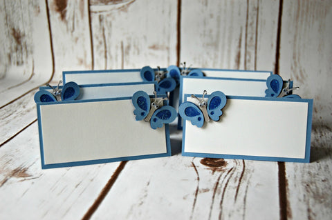 Blue Butterfly Birthday Party Food Buffet Name Tags (Set of 6) - We Bring the Party
