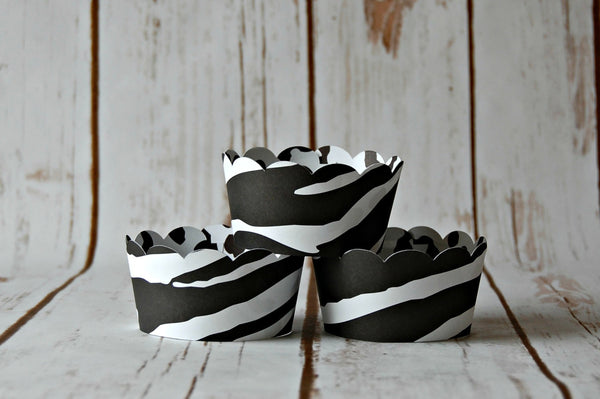 Zebra Print Cupcake Wrappers, Reversible Cake Wraps,  Zoo Cupcake Decoration, Snow Leopard Pattern - We Bring the Party - 1