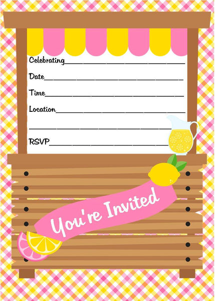 Pink Lemonade Stand Themed Fill in Invitation, Instant Download, Birthday Party Invite - We Bring the Party
