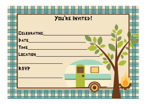 Camping Themed Fill in Invitation, Instant Download, Birthday Party Invite - We Bring the Party