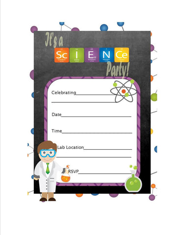 Science Party Themed Fill in Invitation, Instant Download - We Bring the Party