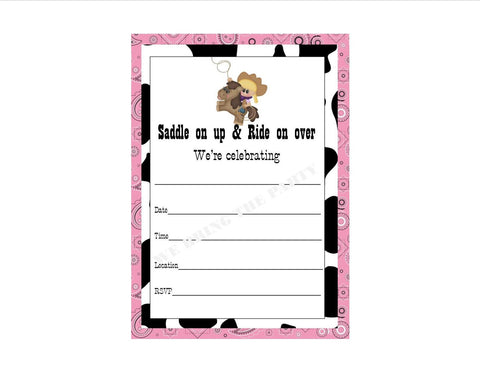 Cowgirl Party Themed Fill in Invitation, Instant Download, Birthday Party Invite - We Bring the Party