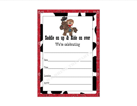 Cowboy Party Themed Fill in Invitation, Instant Download, Birthday Party Invite - We Bring the Party