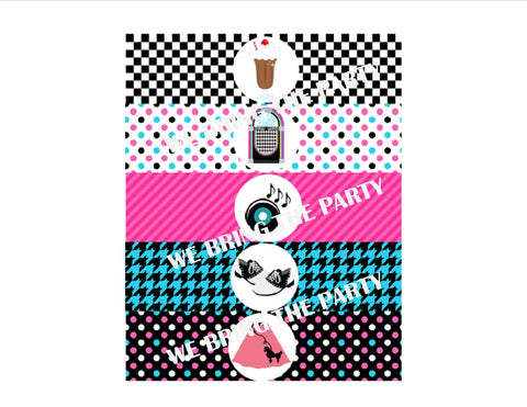 Sock Hop Water Bottle Labels - We Bring the Party