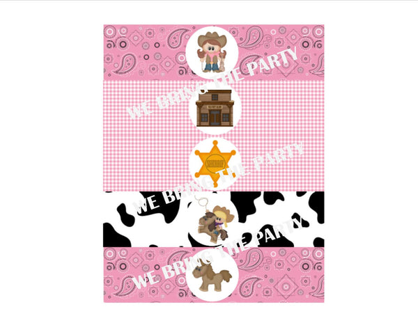Cowgirl Water Bottle Labels - We Bring the Party