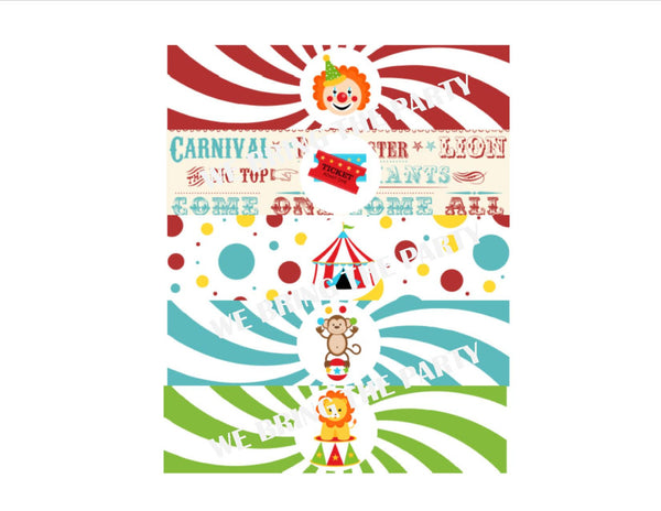 Circus Birthday Party Water Bottle Labels - We Bring the Party