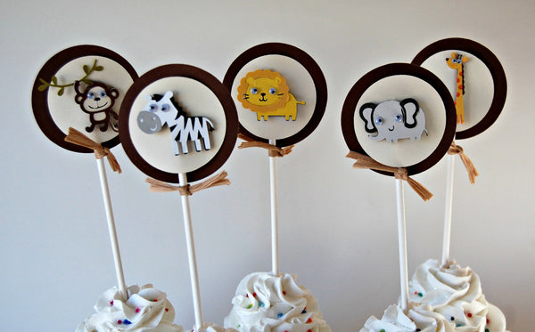 Jungle Safari Birthday Party Cupcake Toppers, Zoo Party Decorations, Safari Birthday Party