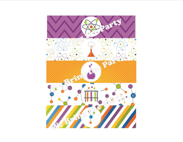 Science Birthday Party Water Bottle Labels - We Bring the Party